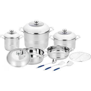 13pcs Cookware Set with Steamer and Cooking Utensils